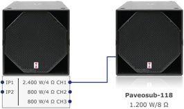 Paveosub 118sp stuurt meerdere andere speakers aan