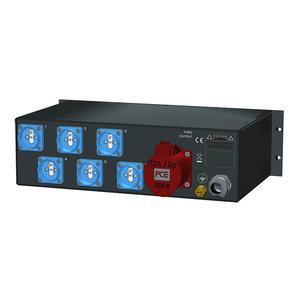 SRS Power* Rackmontage stroomverdeler 32A   1x 32A 5p   6x Schuko   Main MCB   6x RCBO   3x VA meter   3U