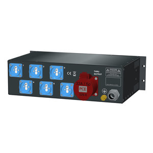 SRS Power* Rackmontage stroomverdeler 32A | 1x 32A 5p | 6x Schuko | Main RCBO | 6x MCB | 3x A meter | 3U