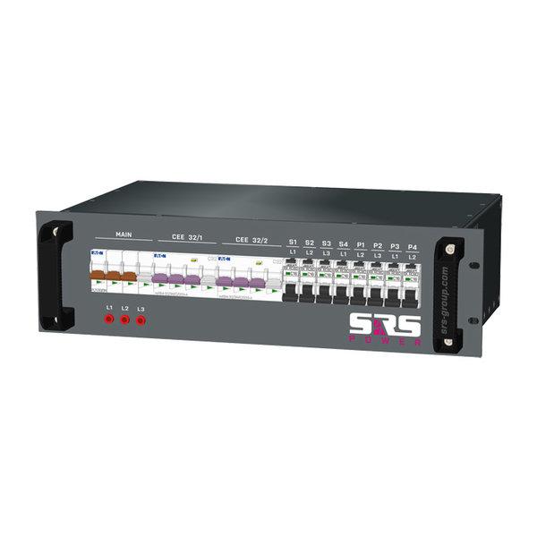 SRS Power* Rackmontage stroomverdeler 63A | 2x 32A 5p | 4c Schuko | 4x powerCON TRUE1 | Main MCB | 9x RCBO | 3U