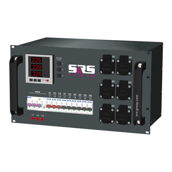 SRS Power* Rackmontage stroomverdeler 32A   3x 32A 3p   6x  Schuko   Main RCBO   9x MCB   Digitale meter   6U