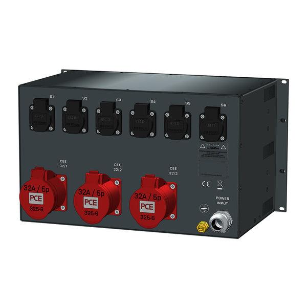 SRS Power* Rackmontage stroomverdeler 63A | 3x 32A 5p | 6x Schuko | Analoge meter | Main MCB | 9x RCBO | 6U