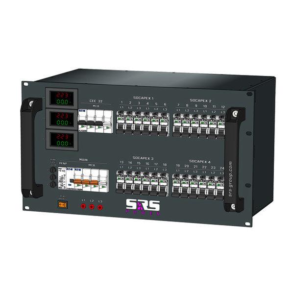 SRS Power* Rackmontage troomverdeler 63A   1x 32A   4x  Socapex 19p   18x Schuko   VA meter   Main MCB   1x MCB   18x RCBO   6U