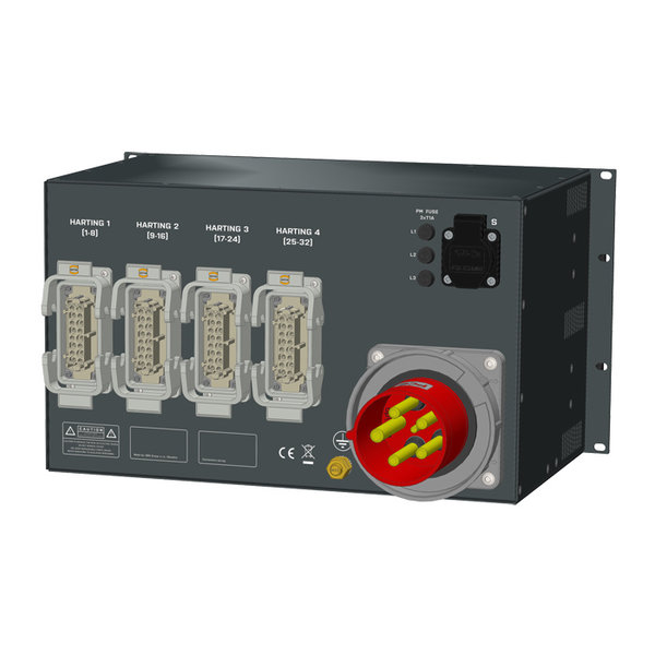 SRS Power* Rackmontage stroomverdeler 125A   4x Harting 16p   1x Schuko   RCBO   Digital meter   6U