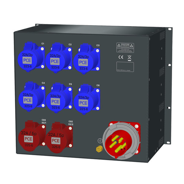 SRS Power* Rackmontage stroomverdeler 63A   2x 32A 5p   6x  32A 3p   RCBO   Digitale meter   9U
