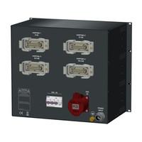 SRS Power* SRS Power Stroomverdeler 63A | 1x 32A | 4x Harting 16p | 12 Schuko |Main MCB | 25x RCBO | Digitale meter | 9U