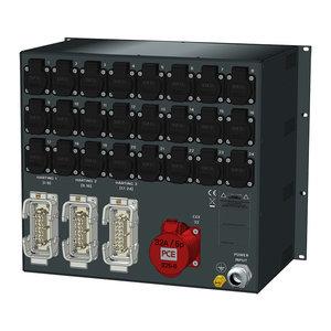 SRS Power* Rackmontage stroomverdeler 63A | 1x 32A 5p | Harting 16p | 24x Schuko | RCBO | Digitale meter | 9U