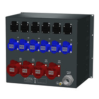 SRS Power* Rackmontage stroomverdeler 125A | 4x 32A 5p | 6x 32A 3p | 6x Schuko | MCB | 9U