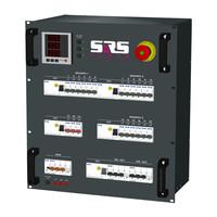 SRS Power* Rackmontage stroomverdeler 63A   1x 63A   2x 32A 5p   3x 32A 3p   2x Socapex 19p   18x Schuko   Main MCB   23x MCB   5x RCD   Noodstop   12U