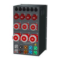 SRS Power* Rackmontage stroomverdeler 400A   1x 400A   3x 125A   3x 63A   4x 32A   6x Schuko   Main   RCBO aardlekautomaat   digitale meter   18U