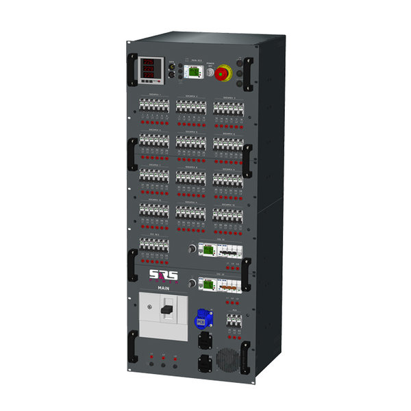 SRS Power* Rackmontage stroomverdeler 400A | 1x 400A | 1x 63A | 1x 32A | 7x CEE16A 3p | 12x Socapex | 2x Schuko | Main | RCBO aardlek automaat | Digitale meter | 27U