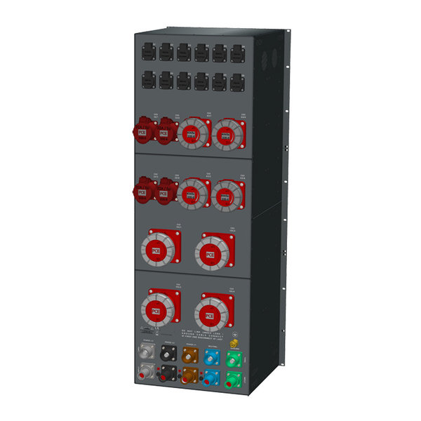 SRS Power* Rackmontage stroomverdeler 400A | 4x 125A | 4x 63A | 4x 32A | 12x  Schuko | Main MCB | 6x RCBO | 29U