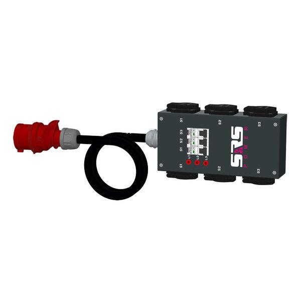 SRS Power* Portable stroomverdeler 16A 5p | 6x Schuko | 3x RCBO