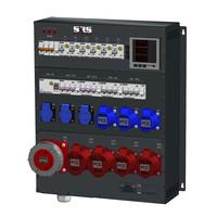 SRS Power* Wandmontage Stroomverdeler 63A   1x 63A 5p   2x 32A 5p   3x 16A  3p    3x Schuko   Main MCB   1x RCD   10x RCBO   Digitale meter