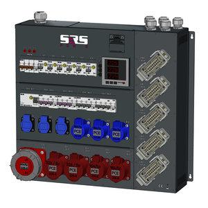 SRS Power* Wandmontage stroomverdeler  63A   1x 63A   2x 32A   2x 16A 5p   3x 16A 3p   5x Harting 16p   3x  Schuko   Main MCB   1x RCD   10x RCBO aardlekschakelaar   Digitale meter