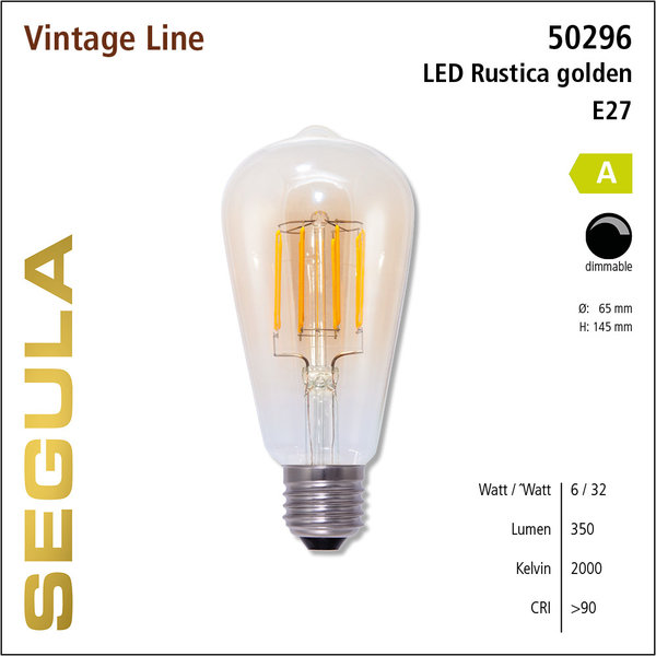 Segula* LED- lamp Vintage Rustika goud| E27 | 6 W (32 W) | 350 Lm | 2.000 K | 50296 |