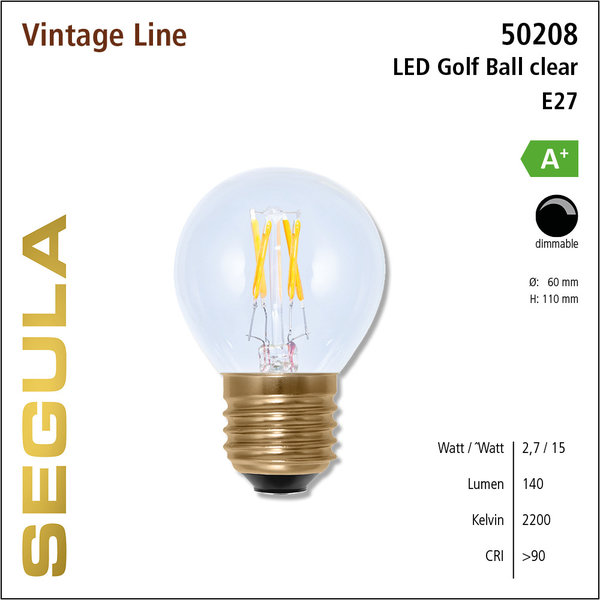 Segula* LED- lamp Vintage Golfbal Helder   E27   2,7 W (15 W)   140 Lm   2.200 K   50208  