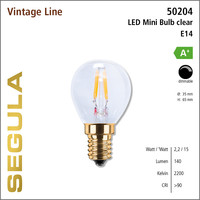 Segula* LED- lamp Vintage mini Bulb Helder | E14 | 2,2 W (15 W) | 140 Lm | 2.200 K | 50204 |