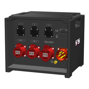 SRS Power* IP54 stroomverdeler 32A | 1x 32A 5p | 2x 16A 5p | Main MCB | 5x RCBO | Digitale meter | SVE3