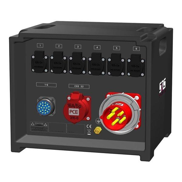 SRS Power* IP54 stroomverdeler 63A | 1x 32A 5p | 1x Socapex 19p | 6x Schuko | Main MCB | 7x RCBO | Digitale meter | SVE3