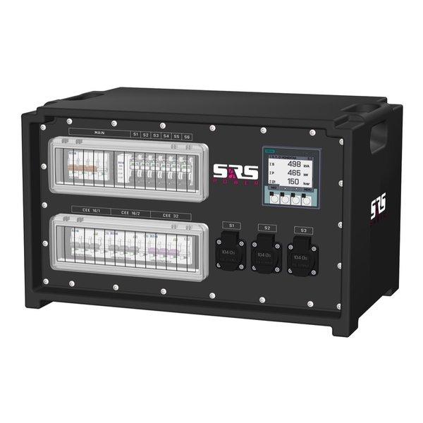 SRS Power* IP54 stroomverdeler 63A   1x 32A 5p   2x 16A 5p    6x Schuko   Digitale meter   Main MCB   9x RCBO   SVE4