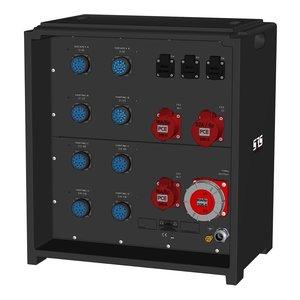 SRS Power* IP54 stroomverdeler 63A   1x 63A 5p   1x 32A 5p   2x 16A 5p   8x Socapex 19p   6x Schuko   Main MCB   6x MCB + RCD   27x RCBO   SVE5