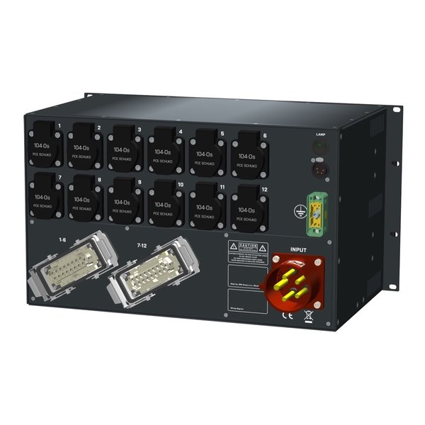 SRS Power* HYMAG stroomverdeler 32A   2x Harting 16p   12x Schuko   LED A-meter   Digitale meter   Main MCB   12x HRCBO   6U
