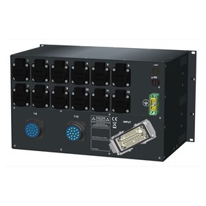 SRS Power* HYMAG stroomverdeler 32A | 2x Socapex 19p | 12x Schuko | LED A-meter | Main MCB | 12x HRCBO | 6U