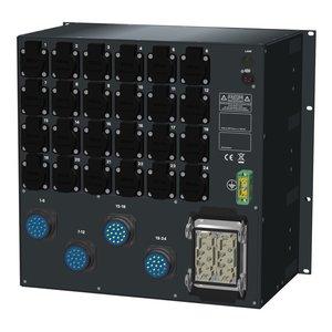 SRS Power* HYMAG stroomverdeler 63A | 4x Socapex 19p | 24x Schuko | Noodstop | LED A-meter | Digitale P-meter | Main MCB | 24x HRCBO | 10U