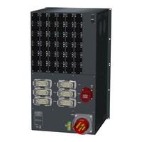 SRS Power* HYMAG stroomverdeler 125A | 1x 32A 5p | 6x Harting 16p | 36x Schuko | Noodstop | LED A-meter | Digitale P-meter | Main MCB + RCD-D | 36x HRCBO | 18U