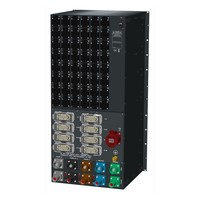 SRS Power* HYMAG stroomverdeler 250A | 250A Powerlock | 1x 32A 5p | 8x Harting 16p | 48x Schuko | Noodstop | LED A-meter | Digitale P-meter | Main MCB + RCD-D | 48x HRCBO | 22U