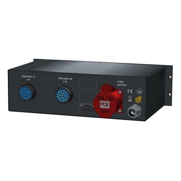 SRS Power* Rackmontage stroomverdeler 32A | 2x  Socapex 19p | 1x Schuko | Main MCB | 13x RCBO | 3U