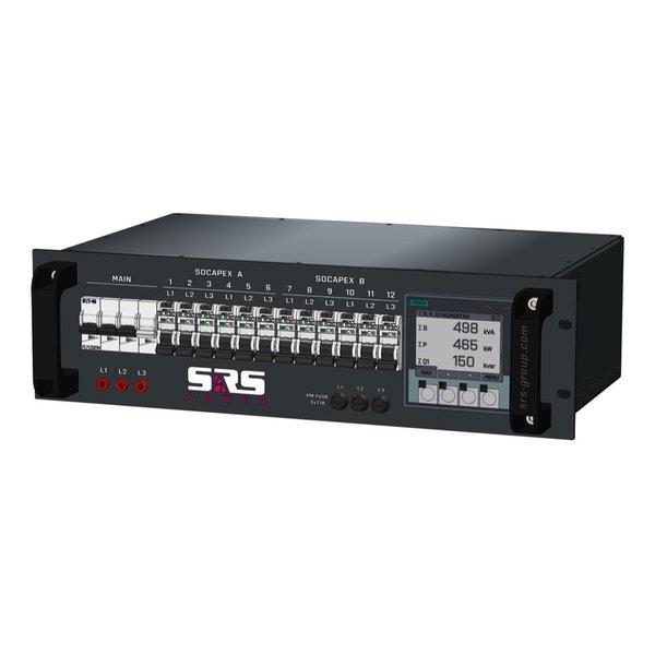 SRS Power* Rackmontage stroomverdeler 32A   2x  Socapex 19p   12x Schuko   Digitale meter   Main MCB   12x RCBO   3U