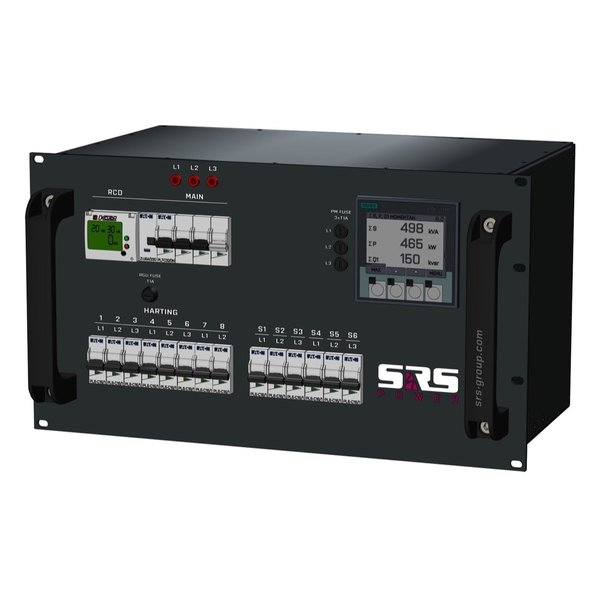 SRS Power* Rackmontage stroomverdeler 32A | 1x 32A 5p | 2x Harting 16p | 6x Schuko | Main MCB  + digitale RCD | 14x MCB | 6U