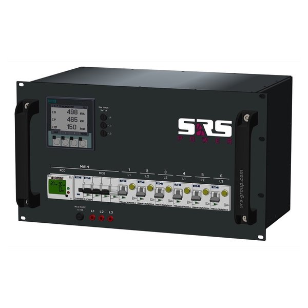 SRS Power* Rackmontage stroomverdeler 32A | 6x Schuko (2x) | Main MCB + Digital RCD | 6x RCBO | 6U
