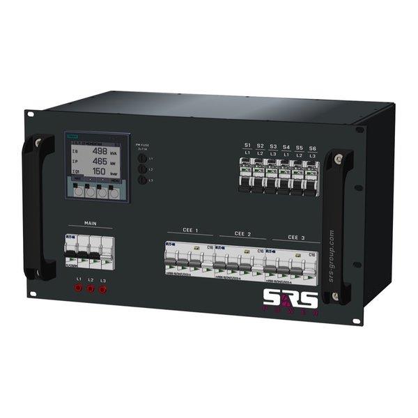 SRS Power* Rackmontage stroomverdeler 32A | 3x 16A 5p | 6x Schuko | Digitale meter | Main MCB | 9x RCBO | 6U