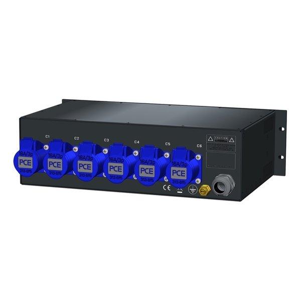 SRS Power* Rackmontage stroomverdeler 32A   6x 16A 3p   1x Schuko   Main RCBO   7x MCB   3U