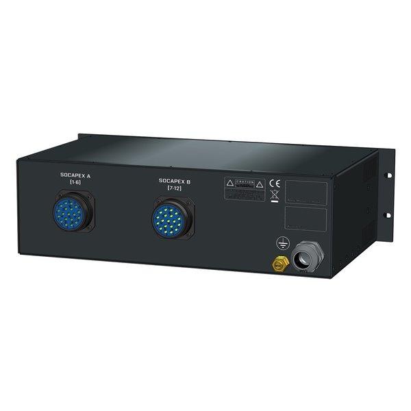 SRS Power* Rackmontage stroomverdeler 32A   2x Socapex 19p   Main RCBO   12x MCB   3U