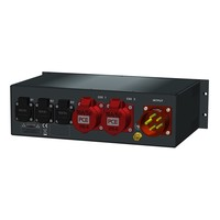 SRS Power* Rackmontage stroomverdeler 32A   2x 16A 5p   3x Schuko   Main RCBO   5x MCB   3U