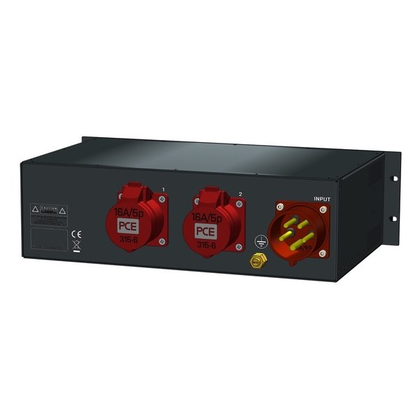 SRS Power* Rackmontage stroomverdeler 32A   2x 16A 5p   1x Schuko   Main RCBO   3x MCB   3U