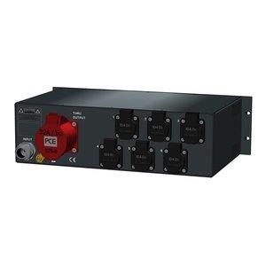 SRS Power* Rackmontage stroomverdeler 32A | 1x 32A 5p | 6x Schuko | Main RCBO | 6x MCB | 3U
