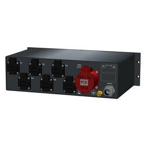 SRS Power* Rackmontage stroomverdeler 32A   1x 32A 5p   7x Schuko   Main RCBO   6x MCB   3U
