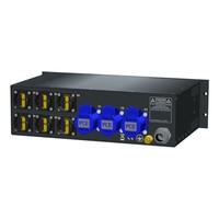 SRS Power* Rackmontage stroomverdeler 32A | 3x 16A 3p | 6x Schuko | Main RCBO | 4x MCB | 3U