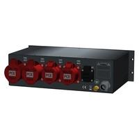 SRS Power* Rackmontage stroomverdeler 63A | 2x 32A 5p | 2x 16A 5p | 1x Schuko | Main MCB | 4x MCB | 1x RCBO | 3U