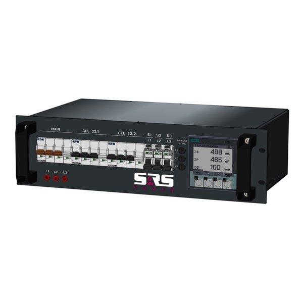 SRS Power* Rackmontage stroomverdeler 63A | 2x 32A 5p | 3x Schuko | Digitale meter | Main MCB | 2x MCB | 3x RCBO | 3U