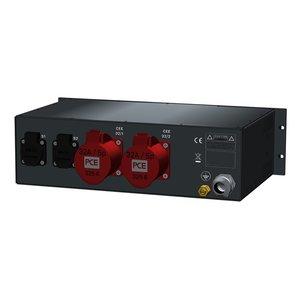 SRS Power* Rackmontage stroomverdeler 63A | 2x 32A 5p | 2x Schuko | Digitale meter | Main MCB | 2x MCB | 2x RCBO | 3U