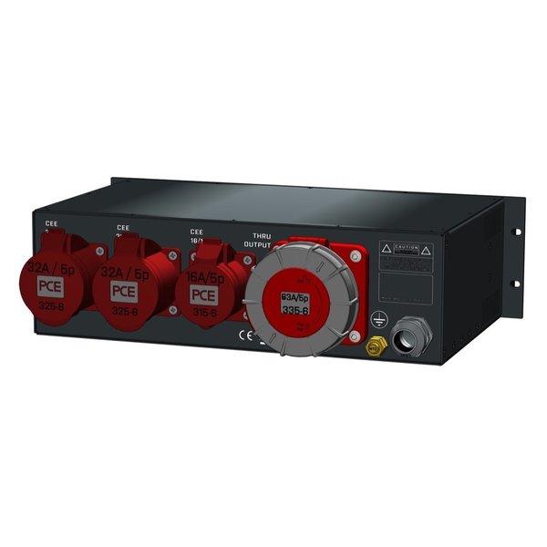 SRS Power* Rackmontage stroomverdeler 63A   2x 32A 5p   1x 16A 5p  Digitale meter   Main MCB   3x MCB   3U