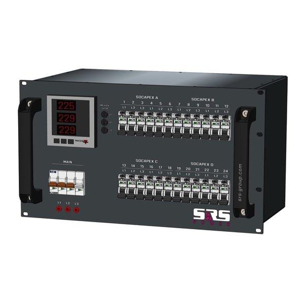 SRS Power* Rackmontage stroomverdeler 63A | 4x Socapex 19p | 24x Schuko | Main MCB | 24x RCBO | 6U
