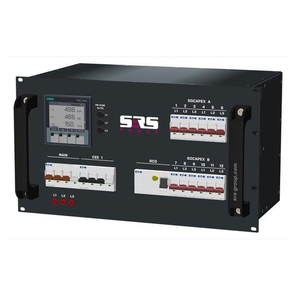 SRS Power* Rackmontage stroomverdeler 63A | 1x 32A 5p | 2x Socapex 19p | 12x Schuko | Main MCB | 13x MCB | 1x RCD | 6U