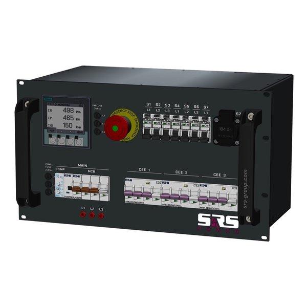 SRS Power* Rackmontage stroomverdeler 63A   3x 32A 5p   7x Schuko   Noodstop   Main MCB   3x MCB   7x RCBO   6U